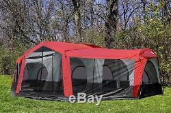 Tahoe Gear Carson 3 Season 14 Person Large Tente De Cabine Familiale 25 X 17.5 Pi, Rouge