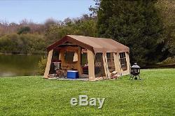 Tente De Cabine De Véranda 10 Personnes 2 Chambres Auvent Camping Grande Famille Arrière-cour