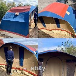Tente De Cadre De Demi-lune De Cabanon D'origine, Toile Lourde, 4 Couchettes, Haut De Gamme