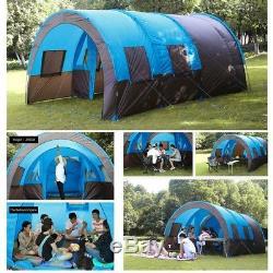 Tente De Camping Camp Extérieur Tunnel Étanche Double Couche Grand Parasol Familial