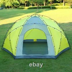 Tente De Camping En Plein Air Ultra-large Double Couche 3porte Hexagonal Yurte Tente 10 Personne