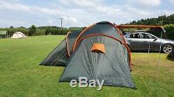 Tente De Camping Familiale Grande Régate Pour 3 Personnes, 3 Chambres, Vert-orange 928/1617 (d)