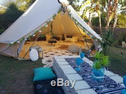 Tente De Toile 4 Saisons Tente Bell Trou De Cuisinière Étanche Grande Yourte Glamping Extérieur