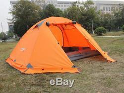 Tente Orange Double Layer 2 Personne 4 Saison Extérieure Camping Neige Vent Jupe Lumière