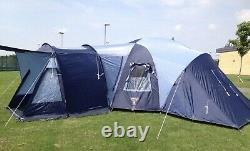 Vango Diablo 900 Bleu 9 Couchettes Grande Tente Avec 3 Chambres, Feuille De Sol