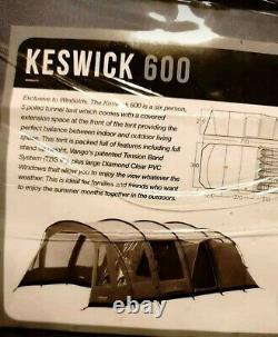 Vango Keswick 600 6 Tent Utilisé Tente Une Fois Grand Grand Espace Lounge