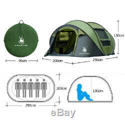 Voyager Randonnée Tente De Camping 3-4 Personne Famille Immédiate Pop Up Tente Vert / Bleu