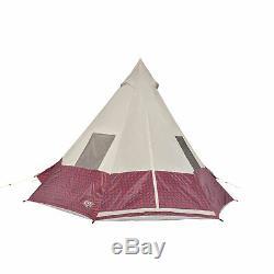 Wenzel Shenanigan Grande 5 Personne Trail Camping Easy-setup Tipi Tente, Rouge À Carreaux