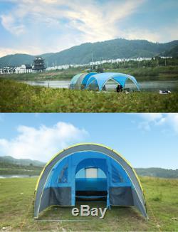 Windproof Tunnel Large Outdoor Tent Party Fête Familiale Voyage Randonnée Pour 10+ Personnes